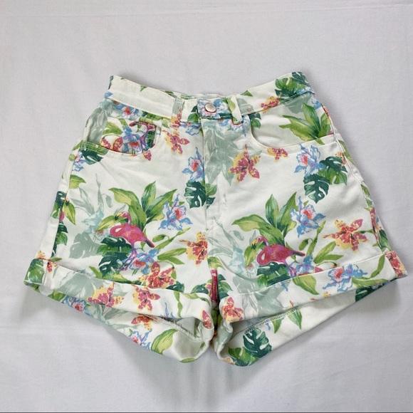 American Apparel high waisted white denim shorts